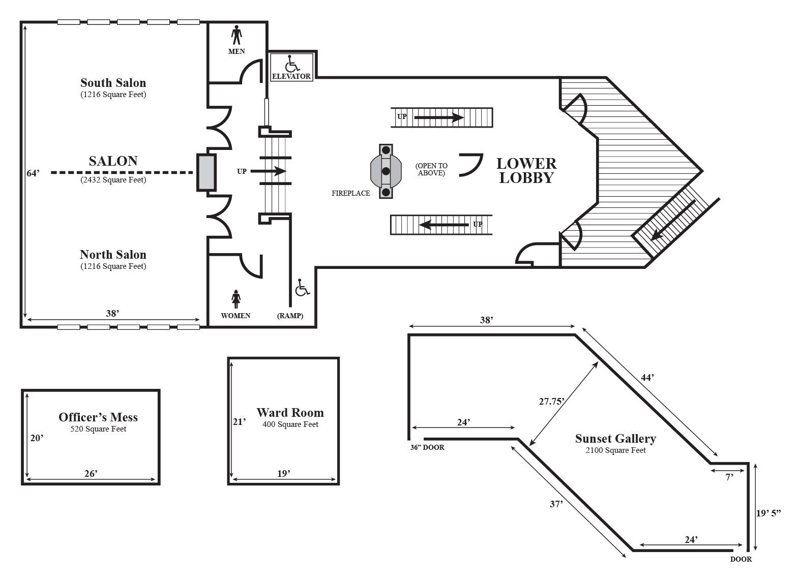 Floor plan of four of Hallmark Resorts Newport event spaces